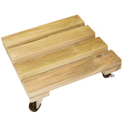 Wooden Square Pot Stand on Wheels - 35 x 35 cm